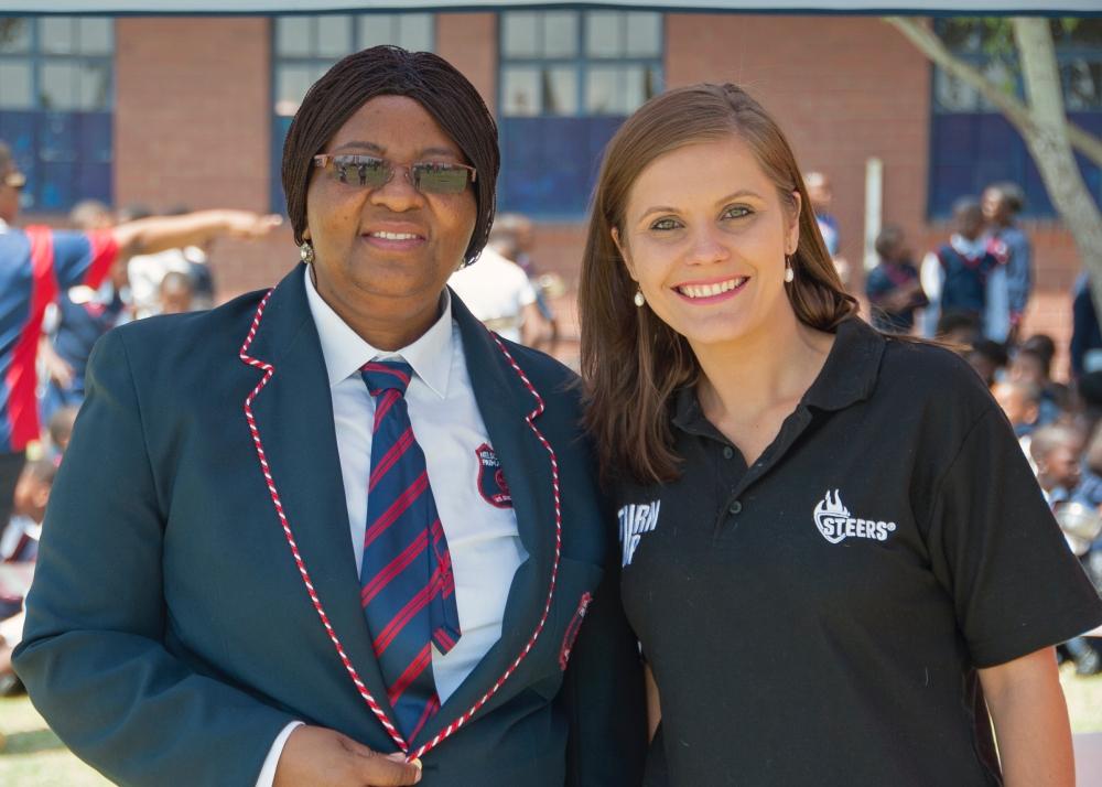 LET'S PLAY FINALS - Steers Brand Manager Marie Coetzee & Nelson Mandela Primary School Principal - STEERS